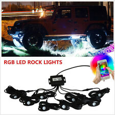 Universal 8Pcs RGB LED MultiColor Offroad Rock Lights Wireless Bluetooh  Jeep