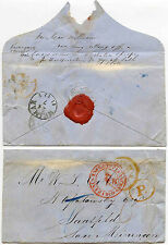 GB to SAXE MEININGEN 1855 ENVELOPE ALFRED JAMES COLE SEAL via AACHEN STATION TPO