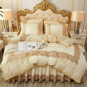 Elegant Bedding Sets Velvet Bed Skirt Lace Duvet Cover Winter 4Pcs Bed Sheet Set