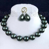 Rare 14mm south sea Black Shell Pearl Necklace Earring jewelry set AAA 18""