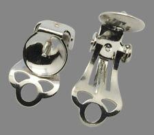 10 clip sur boucle d'oreille blancs ronds Cup Pad bar moitié forés 5 paires (box62)