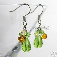 Handmade Earrings: Green & Topaz Crystal & Glass Bead