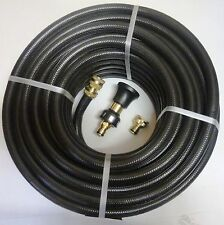 FIRE FIGHTING REEL BLACK HOSE PIPE 20mm x 36m COIL FITTED BRASS NOZZLE SAFETY