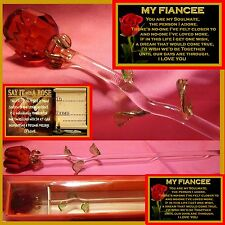 SINGLE RED ROSE GLASS FLOWER MY FIANCEE GIFT CHRISTMAS I LOVE YOU ONE  CARD XMAS