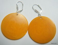 Artist made Dangling Butterscotch Poker Chip Earrings Leverback or Sterling Wire