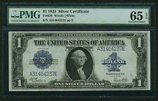 1923 $1 SILVER CERTIFICATE BANKNOTE FR238 GEM UNCIRCULATED CERTIFIED PMG-CU65EPQ