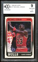 1988-89 Fleer #17 Micharl Jordan Card BGS BCCG 9 Near Mint+
