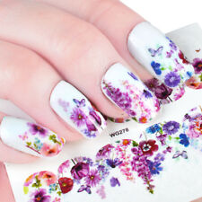 Nail Art Water Decals Stickers Transfers Deep Purple Flowers Gel Polish (WG278)