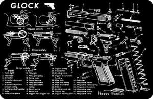Gun Cleaning Bench Mat w/ Glock 1911 Smith Wesson M&P UZI AR AK Rifles Part List