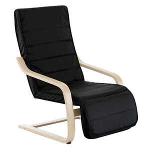 Modern Rocking Chair Wooden Office Reading Lounge Seat Cushion w/ Footrest Black