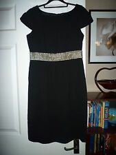 M&S Limited Collection Black Cap Sleeve Dress - Size 8