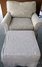 "Rachel Ashwell Shabby Chic ""Large Squishy"" Arm Chair w Ottoman Slipcovered 48"""