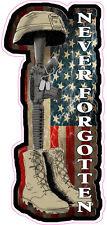 """Battle Field Cross Never Forgotten Decal  6"""" x 3"""""""