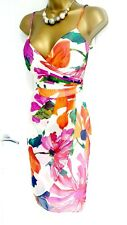 COAST size 10 multi floral occasion holiday wedding guest pencil dress silk D