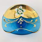 Vintage Art Glass Hand Painted Enamel Floral Trinket Dish Gold Accent