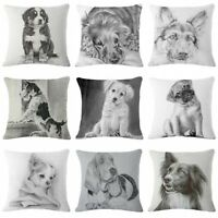 "Sofa Cover Pillow Vintage Dog 18"" Decor Cotton Home Case Cushion Linen Pillow"