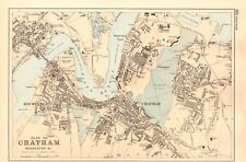 1891 ANTIQUE MAP - TOWN PLAN, CHATHAM, ROCHESTER & CO