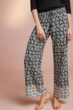 ANTHROPOLOGIE FLOREAT BLACK PRINTED LOUNGE BOHO COTTON CASEY SLEEP PANTS Sz L