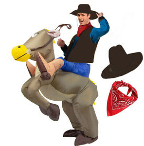 Adult Inflatable Riding Horse Costume Suit Cowboy Fancy Dress Horse Costume
