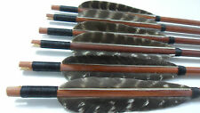 6X Wooden Arrows Eagle Feather Wood Shaft Archery Recurve Bow Longbow