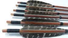 6X Wooden Arrows Eagle Feather Wood Shaft Archery Arrow Recurve Bow Longbow