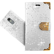 Diamond Clasp Bling Glitter Flower Leather Wallet Card Case For Huawei & Xperia