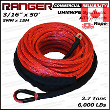 Ranger 6 000 LBs 3 16 x 50 Synthetic Winch Rope 5 MM x 15 M for ATV Winch