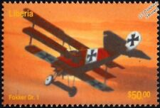 WWI Red Baron FOKKER Dr.I Dreidecker/Triplane Aircraft Stamp (2003 Liberia)