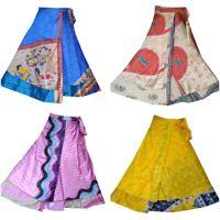 Indian Vintage Silk Skirt Women Long Wrap Dress Bohemian Skirt Gypsy Hippie Boho