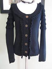 Temperley London Black Cotton Sweater Cardigan Size S $241