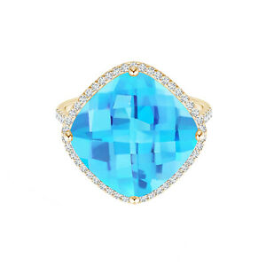 8 MM Cushion Swiss Blue Topaz Bridal Ring with Solitaire Accents 9K Yellow Gold