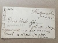 Antique Correspondence Postcard 1894 Kissimmee FL 25952