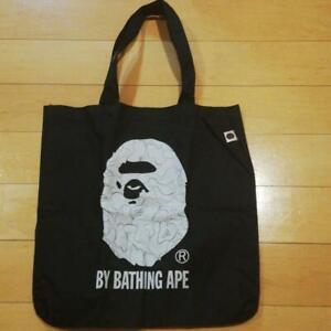 A BATHING APE BAPE Tote Bag Pouch Black x white Rare MOOK