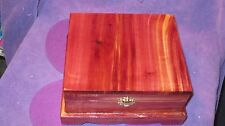 CEDAR JEWELRY BOX WITH ROYAL BLUE LINING