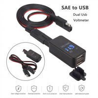 Motorcycle 12V SAE to Dual USB Phone GPS Charger Adapter & Voltmeter Waterproof