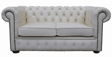 Chesterfield Traditional 2 Seater White Real Leather Sofa Settee