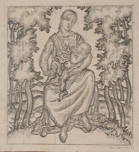 "Josef Lacina (b. 1899) ""Madonna in landscape"" 1923, drawing"