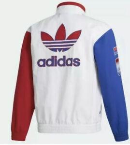 Adidas Original Shadow Trefoil Windbreaker Jacket GL5132 White Men's Sz L New