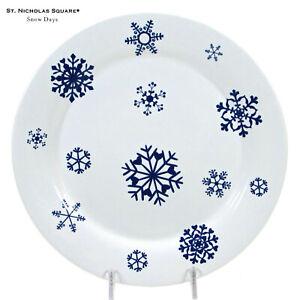 "St. Nicholas Square SNOW DAYS 8.75"" Dessert Salad Plate White Blue Snowflakes"