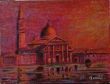 Venezia disegno quadro a pastello chiesa San Giorgio Maggiore sulla laguna 1985