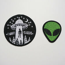 2 x Flying Saucer UFO Alien Sew Iron On Patch Applique Badge Bag Fabric Applique