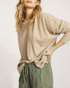 Free People Beside Me Recycled Cashmere Sweater Natural, size XS, Retails $228