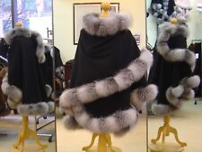 Fur Cape Black Cashmere With Indigo Fox Fur Trim Beautifully Canadian Label