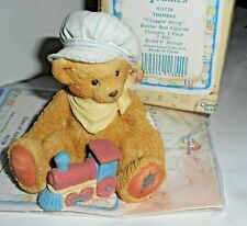 Vintage Cherished Teddies Figure Thomas with Box Boy Conductor w/ Toy Train