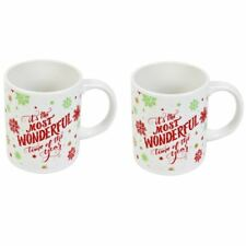 Set Of 2 Christmas Mugs Handle Cups Festive Novelty Coffee Tea Chocolate Xmas