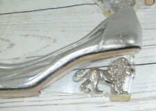 Vintage 1980s Libra Designer Silver Lion Clear/Silver Wedge Court Shoes RARE
