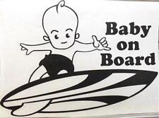 "9"" Vinyl Hawaiian Boy Baby on Board Short Surfboard Car Decal Sticker Black #1SN"
