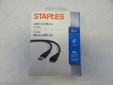 STAPLES 6' USB 3.0  TO MICRO USB CABLE, BLACK FAST FREE SHIPPING