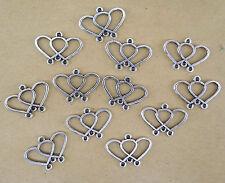 12 CONNECTEURS DOUBLE COEUR en métal argenté vieilli  perles,fimo-co028