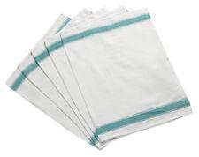 Herringbone 100 Cotton Tea Towels with Green Stripe Detail Pack of 5